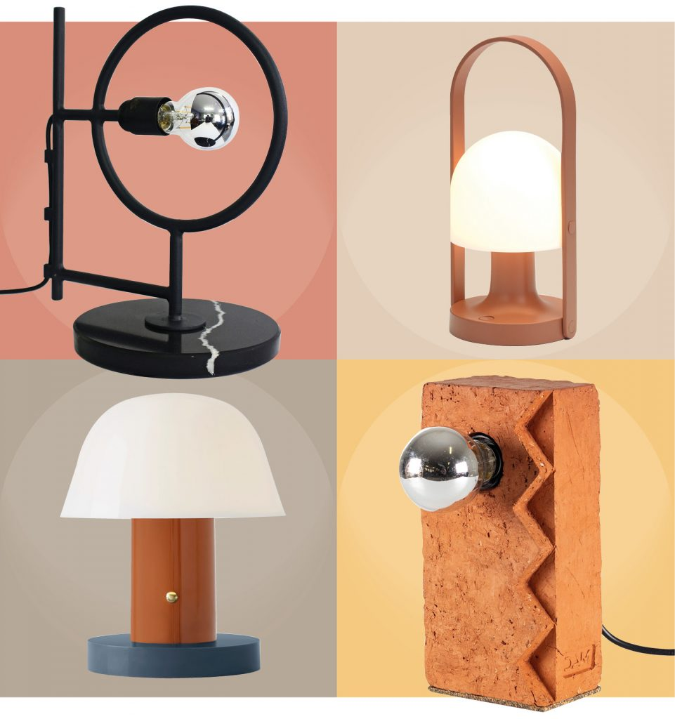 Lamps - CLOCKWISE FROM LEFT: Fulani Desk Lamp with black marble base, R4,100.00 by TheUrbanative | FollowMe portable lamp in Terracotta by Marset from Newport Lighting, R5,702.00 | Setago Table Lamp by &Tradition in rust and blue from Lemon, R2,185.00 | Bric 'E' lamp by Dokter & Misses, R1,400.00