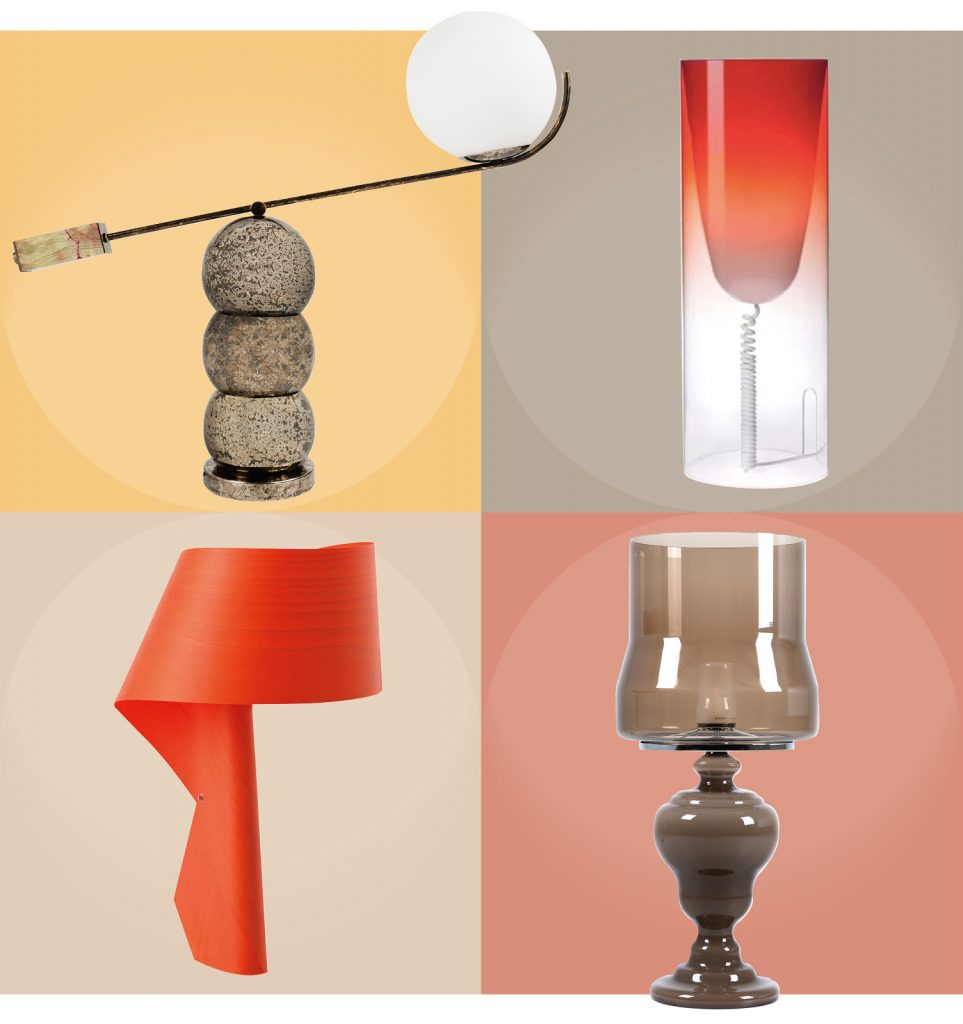 Lamps: CLOCKWISE FROM LEFT: Catapult table lamp by Studio 19, R8,500.00 | Red Toobe Light by Kartell from True Design, R5,110.00 | Air Table Lamp in red by LZF from Newport Lighting R17,552.50 | Kaipo TOO lamp in Sepia by MOOOI from Créma, R59,760.00