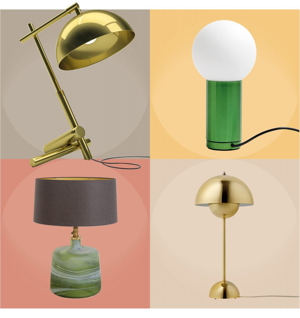 CLOCKWISE FROM LEFT: Axis Table Lamp by Greg Marshall Design, R4,950.00 |Turn On Lamp in green by HAY from Créma, R4,370.00 | Puck Small Lamp in green glass with shade from La Grange Interiors, R5,200.00 | Flowerpot Lamp in polished brass by &Tradition from Lemon, R9,775.00