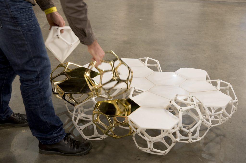 polyhedra modular table prototype - haldane martin