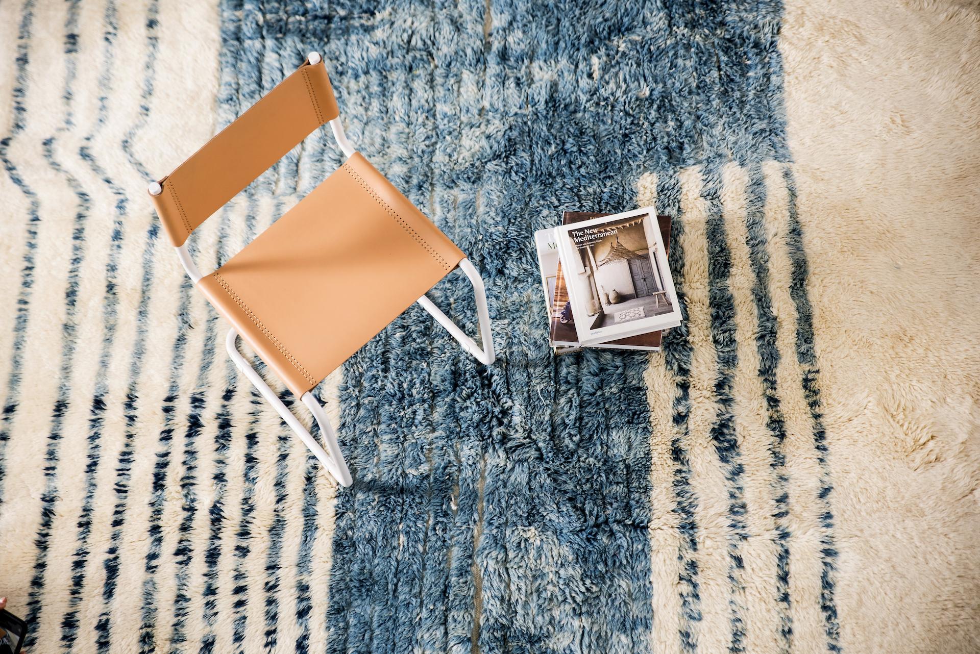 Herringbone rug and chair