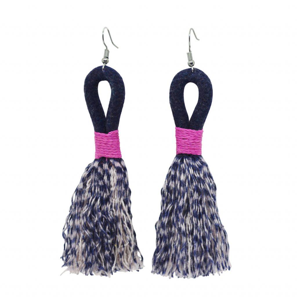 Mia Melange Earrings in Blue-Black, R185