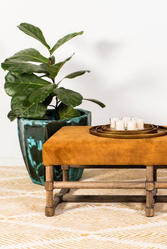 Herringbone, Feather rug amber, handwoven polypropylene