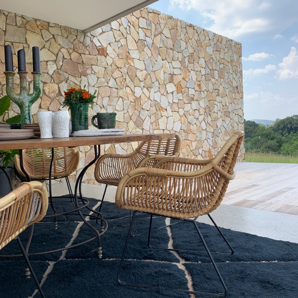 The Storer, dining table, cane chairs, outdoor furniture