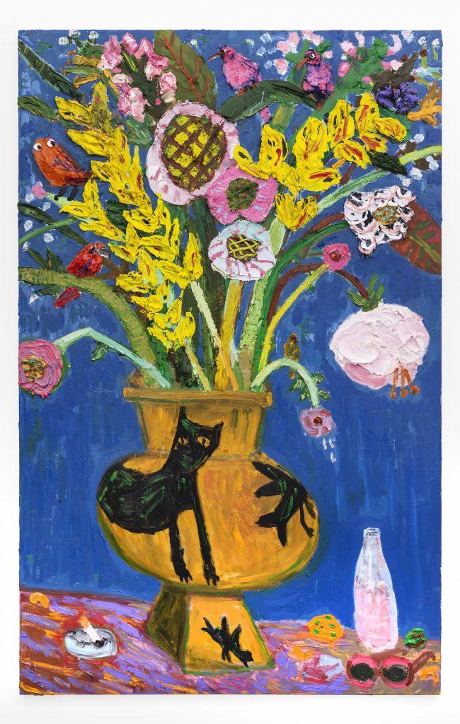 Georgina Gratrix_Pink Pop (Still Life with Hylton Vase and cheese curls )_2019_Oil on Canvas_190 x 120 x 3,5 cm_HR