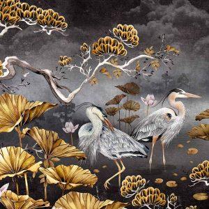 Avalana, Black and gold, Birds, Flowers, Print