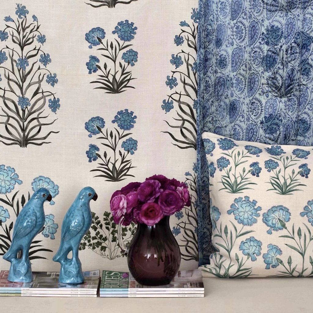 Botanica Trading, Blue, Mughal Meadow, Birds, Decor, Scatter cushions