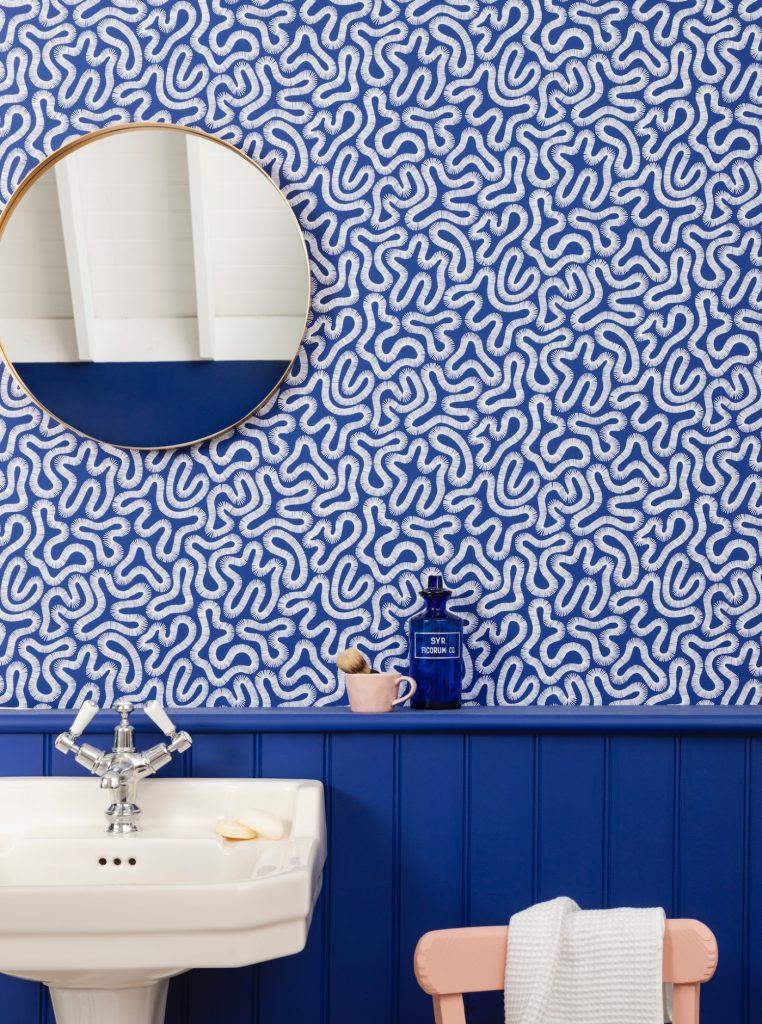 Miss Print, Coral, Lapis, Bathroom, Bathroom decor, Interior design, Navy blue