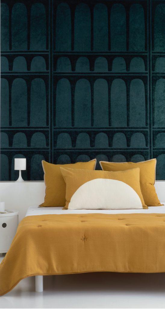 Cropped, Elitis, Bedroom decor, Emerald green, Mustard, Bedding, Interior design