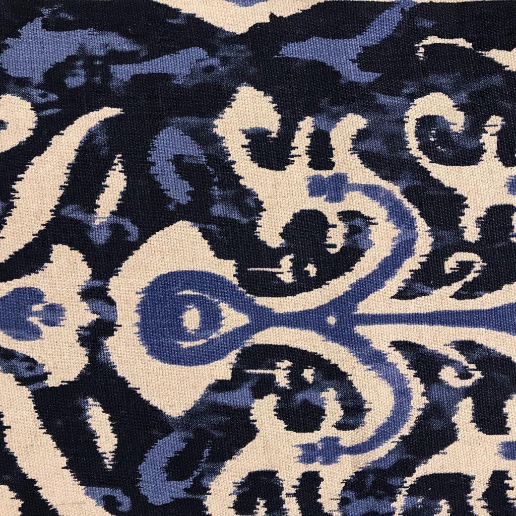 Granada, Fabric, Blue, Cream